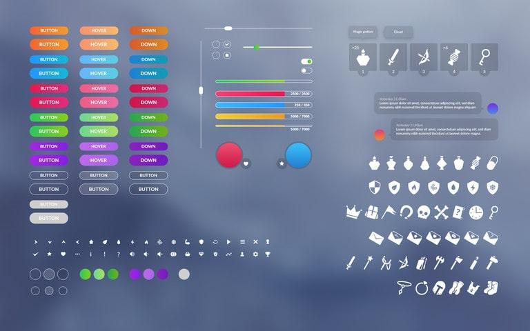 پکیج !Flat clean GUI - over 200 PNG files - تصویر شماره 2