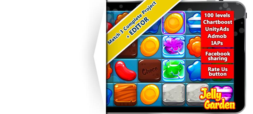 پکیج Jelly Garden Match 3 Complete Project + EDITOR Unity
